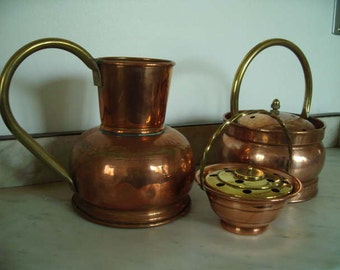 3 beautiful copper handmade vases. Brass jars. Posy vase