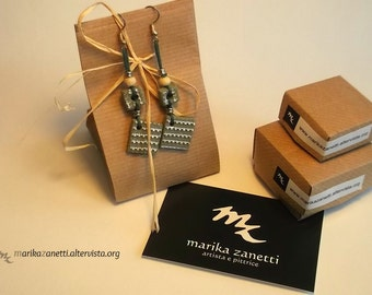 elegant earrings handmade green limited edition gift idea