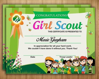 Girl Scout Certificate!