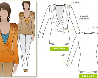 Ronnie Wrap Top - Sizes 10, 12, 14 - PDF sewing pattern for printing at home by Style Arc - Instant Download