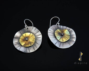 Sterling Silver Round Earrings, Silver and Brass, Handmade Earrings, Contemporay Earrings, Matte Finish Silver