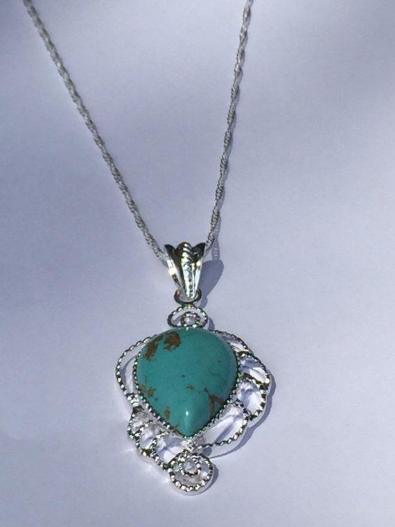 teardrop turquoise pendant necklace by krisjewelryboutique