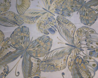 Shimmer by Timeless Treasures Fabrics. Butterflies, blue, gold and grey