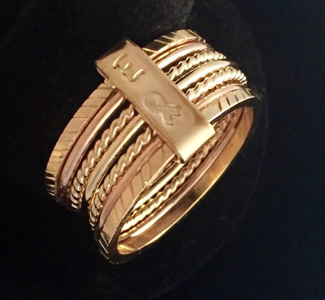 Gold Ring Gift For Her 7 Day Ring Gold 7 Day Ring By