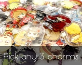 "Pick ANY THREE 1.5"" Clear Acrylic Charms"