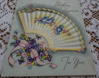 Vintage Greeting Card - Birthday Happiness To You - 1940s