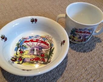 English bone china toadstool gnomehome ladybug mug and bowl set