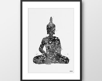 Buddha Print, Yoga Print, Yoga Watercolor Black and White, Yoga Decor, Yoga Gift, Zen Print, Buddha Wall Art Yoga Studio Decor (A098)