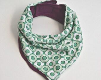 Bandana Bib - Baby Bib - Reversible Bibdana - Purple and Green and Cream Geometric Terry Cloth  - Purple bib - Drool Catcher