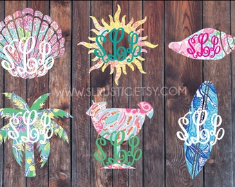 Lilly Pulitzer inspired beach day monogram decal, seashell, palm tree, conch shell, margarita,  surfboard, sun, laptop decal, Car decal.