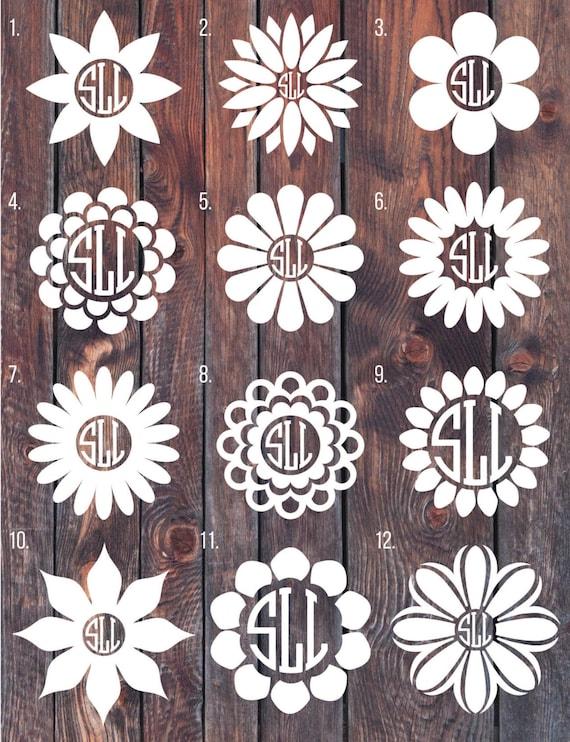 Flower Monogram Decal Monogram Sticker Circle Monogram By