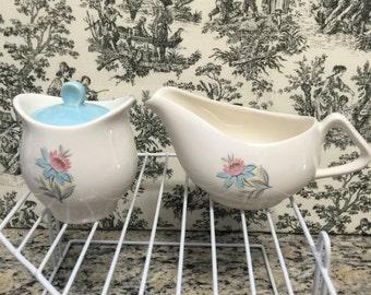 Vintage Steubenville Pottery Co. Gravy Boat & Covered Sugar Bowl Fairlane Design