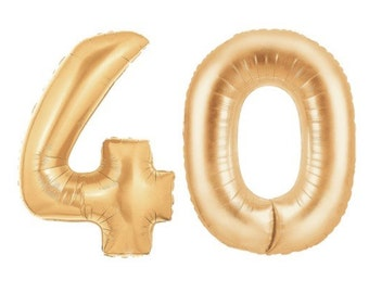 """40 Gold Number Balloons, 40"""", Gold, Number Balloons, Copper Gold, 40th Birthday Balloons, Number, Forty, Hashtag, #, Copper, Rose Gold, Rose"""