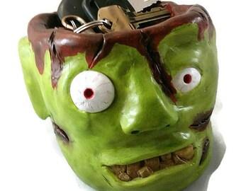 Key Bowl, Zombie, Candy Dish, Halloween Candy Dish, Halloween,  Zombie art,  polymer clay zombie, polymer clay figure, zombie art