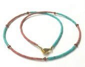 FREE Shipping Worldwide Natural Afghanistan Turquoise, Garnet & Opal Small Tiny Seed Beads Necklace with Brass Gemstone Handmade Jewelry