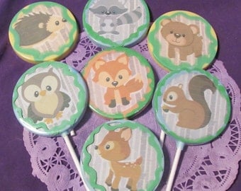 12 Woodland forest animals lollipops