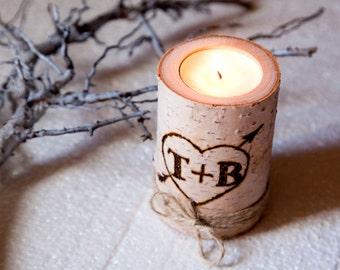 Personalized Birch Candle Wedding Anniversary Engagement Gift Wife Husband Girlfriend Boyfriend Bride Groom Bridal Shower Wedding