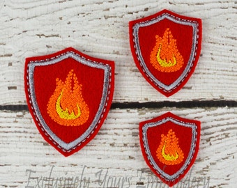 Flame Shield Feltie Set of 4 - Hair Bow Supplies - Badge Reel Cover - Craft Supply - Scrapbooking - Card Making - Planner Clip