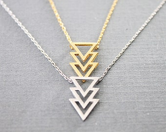 Tiny Gold and Silver Chevron Necklace . Dainty and Delicate Everyday Necklace . Bridesmaid Gift Birthday Gift