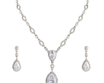 Art Deco Cubic Zirconia Jewelry Set, Teardrop Wedding Set,Wedding Pear Cut Jewelry Set, Bridesmaid Necklace Earrings Set,Bridal Set-10055