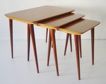 Lovely MODERNIST | Mid Century Modern | NESTING TABLES | Stacking Tables | Teak | Scandinavian Design | 1950s