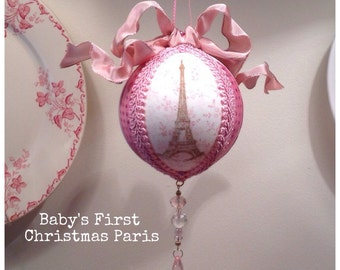Pink Baby's First Christmas Eiffel Tower 3 3/8""