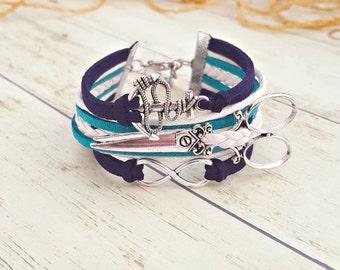 Hairstylist Gift, Hairdresser Jewelry, Scissor Bracelet, Anchor Bracelet, Scissor Jewelry, Hairstylist Jewelry, Shears Bracelet