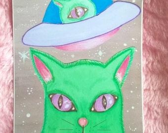 SALE!! -- 2 left -- Alien Kitty Cat Art Print