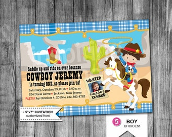 Western Cowboy Birthday Invitation | Cowboy Birthday Invitation | Boys Birthday Party | 5x7 | Printable | 5 Boys To Pick From