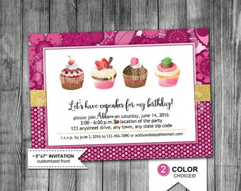Cupcake Party Invitation | Cupcake Birthday Invitation | Let's Have Cupcakes | Pink | Purple | Glitter | Flower | 5x7 | Printable Invitation