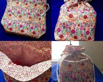 Handmade Drawstring Bag Knitting Crochet Project Bag