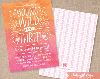 Young Wild and Three Invitation / 3rd Birthday Invitation / Wild Birthday / Third Birthday / Watercolor Birthday / Custom Digital / PDF