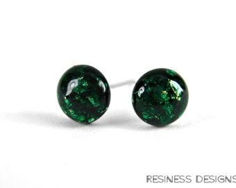 Forest Green Gold Flake Stud Earrings, Tiny Stud Earrings, Nickel Free, Pure Titanium, Surgical Steel, Dark Green Studs, Christmas Gift idea