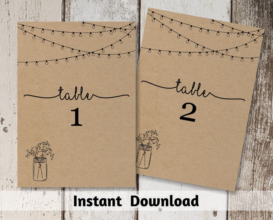 wedding table number printable table card template rustic