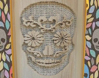 Sugar Candy Skull Day of the Dead - Cut and Fold method book folding pattern - 309 pages