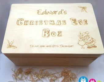 Christmas Eve Box, wooden box, Eve Box, personalised box, surprise box, small box, gift box and FREE Santa Key