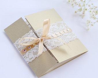 Golden Wedding Invitation, Lace Wedding Invitation, Invitation Suite, Gate Invitation, Romantic Wedding, Luxury Wedding Invitation