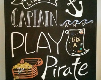 Boy's Nautical/Pirate Canvas Sign