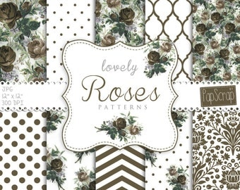 "Rose digital paper : ""Lovely Vintage Roses Patterns"" floral digital paper with vintage roses, vintage digital paper, vintage roses,"