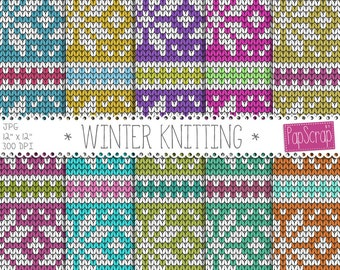 "Fabric digital paper : ""Winter Knitting"" Christmas sweater digital paper / winter knits, winter sweater patterns / knitting digital paper"