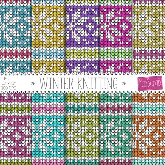 Fabric Digital Paper Quot Winter Knitting Quot Christmas Sweater