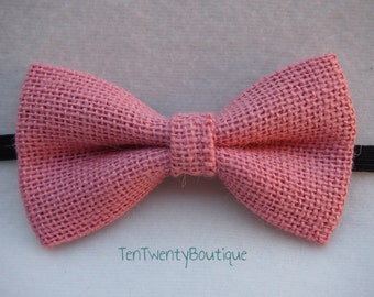 Pink Burlap Barn Bow Tie -  Pink Wedding Print Bowtie Pattern Unisex Adjustable Strap Hipster