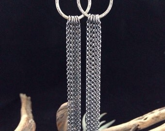 """Long, Sterling Silver, chain fringe earings, hammered circles with hand forged ear wires. 4"""" long"""