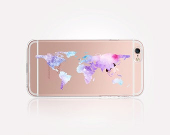 Transparent Watercolor World Map Phone Case - Transparent Case - Clear Case - Transparent iPhone 7  Clear iPhone 7 Plus - Gel Case iPhone SE