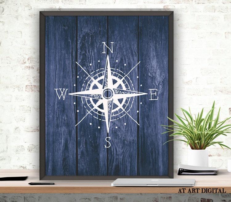 Compass Art Print Compass Pose Nautical Poster By ATArtDigital