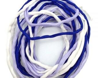 Silk ribbons, 3 m, white, blue, lilac, 3 mm, Habotai, silk, thread, cord