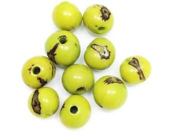 10 Azai lemon, 5mm, 10 pieces, beads, seed beads, Azai seeds, berries, round, beads, natural beads, natural beads, tropical, exotic