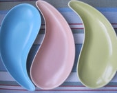 3 Poole Pottery Teardrop Shaped Shallow Dishes