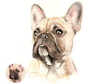 French bulldog - CUSTOM PET PORTRAIT from photo - dog - cat - animal - commission original artwork