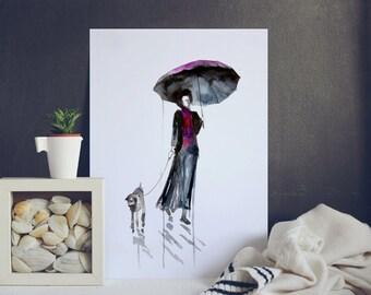 Woman dog rain umbrella Watercolor painting - Art Print - Wall art Decor - Home decoration - wedding gift - abstract - in love